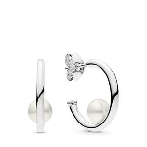 Silver Contemporary Pearls Hoop Freshwater Culture